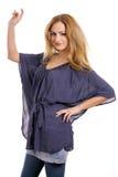 Blonde sveglio con la camicetta blu 2 Immagini Stock