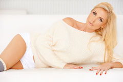 Blonde in a Sweatshirt Stock Images
