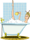 Blonde taking a warm bath, with sponge. Stock Photo