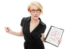 Blonde teacher holding test Stock Image