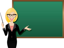 Blonde teacher. Illustration of young girl teacher with blackboard Stock Images