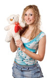 Blonde with teddy bear Royalty Free Stock Photos