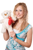 Blonde with teddy bear Stock Photos