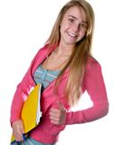 Blonde teen girl student diagonal Stock Image