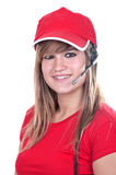 Blonde teen operator. On white background Stock Image