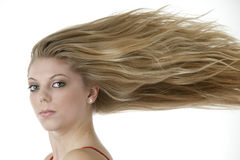 Blonde teenage girl with extreme blowing hair royalty free stock photo