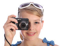 Blonde Teenager Photographer Girl With Camera Royalty Free Stock Images