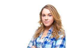 Blonde teenager student with blue plaid shirt Stock Photos