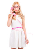 Blonde with telephone. Stock Photo