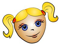 Blonde Toddler Girl Clip Art. A cartoon caricature illustration of a little girl's head - a toddler - caucasian blonde with pigtails and big eyes stock illustration