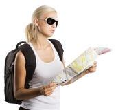 Blonde toerist Royalty-vrije Stock Afbeeldingen
