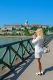 Blonde tourist photographs Budapest Stock Photos
