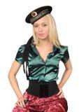 Blonde tragende sowjetische Seemannschutzkappe Stockfotografie