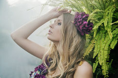 Blonde in the tropical forest Royalty Free Stock Photos
