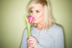 Blonde with tulip Royalty Free Stock Photos