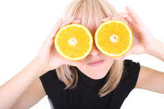 Blonde with two orange slices instead of eyes Stock Photography