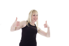 Blonde with two thumbs up Stock Image