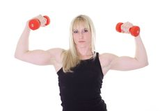 Blonde with two weights Stock Images