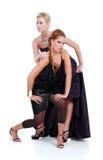 Blonde und Brunettefrauenaufstellung Lizenzfreie Stockfotos