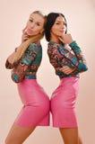 Blonde und des Brunette sexy junge Frauen im Rosa Stockfotografie