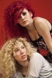 Blonde und rote behaarte Mädchen Stockfotografie