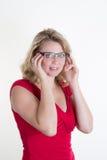 Blonde und sexy junge Frau mit blauen Augen Lizenzfreie Stockbilder
