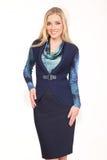 Blonde Unternehmensleiterfrau lokalisiert auf Weiß Lizenzfreies Stockbild