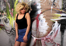 Blonde urban babe stock photos