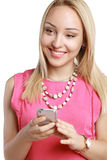 Blonde using mobile Royalty Free Stock Photos