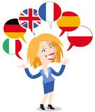 Blonde vector cartoon woman, six speech balloons with flags, speaking languages English, German, Italian, French, Polish, Spanish vector illustration