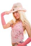 Blonde vestido cor-de-rosa foto de stock royalty free