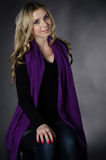 Blonde in a violet scarf Royalty Free Stock Photos