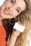 Blonde Visitenkartewinkelvertikale Stockfoto