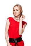 Blonde vrouw in bureaustijl Royalty-vrije Stock Foto