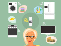 Blonde vrouw die over slimme gadgets thuis denken Royalty-vrije Stock Fotografie