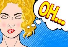 Blonde vrouw die van de pop-art retro grappige stijl met dichte ogen a dromen vector illustratie
