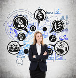 Blonde vrouw en zwarte en blauwe bedrijfspictogrammen Royalty-vrije Stock Fotografie