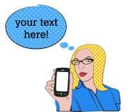 Blonde vrouw met celtelefoon stock illustratie