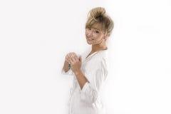 Blonde vrouw met een kop thee Royalty-vrije Stock Afbeeldingen