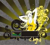 Blonde vrouw met hoofdtelefoons vector illustratie