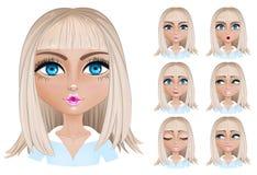 Blonde vrouw met verschillende gelaatsuitdrukkingen Royalty-vrije Stock Foto's