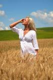 Blonde vrouw op tarwegebied Stock Foto's