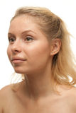 Blonde Vrouw zonder make-up Stock Foto's