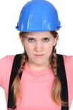 Blonde vrouwelijke bouwer Stock Afbeelding