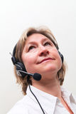 Blonde vrouwen in call centre Stock Foto