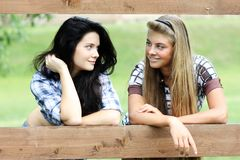 Blonde vs. brunette Royalty Free Stock Image
