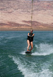 Blonde Wakboarding in the Desert Stock Image