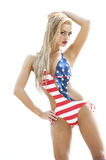 Blonde Wearing American Flag Swimsuit Royalty Free Stock Photo