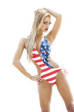 Blonde Wearing American Flag Swimsuit Stock Photo