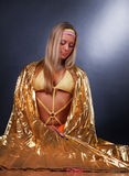 Blonde wearing a gold shawl Stock Image